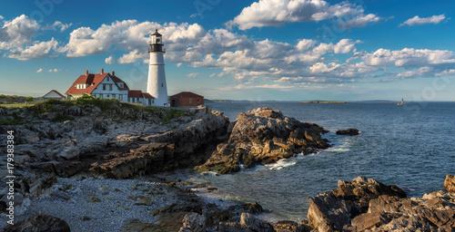Zdjęcie XXL Panorama Portlandzka latarnia morska przy zmierzchem w przylądku Elizabeth, Maine, usa.