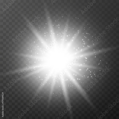 Fototapeta Glow light effect sparkles on transparent background. Vector illustration. obraz na płótnie