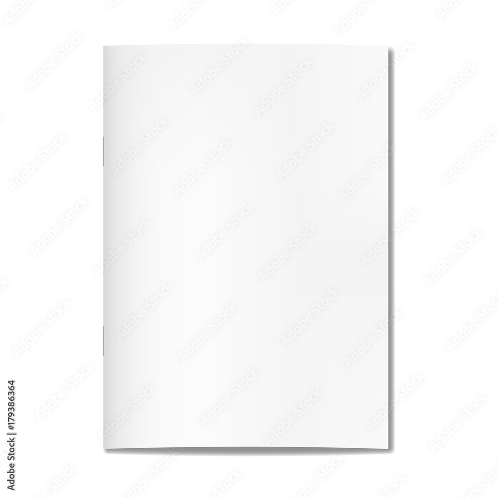 Fototapeta Vector realistic closed book, journal or magazine cover mockup with sheet of A4A. Blank front or cover page of sketchbook or notepad template for catalog, brochure design