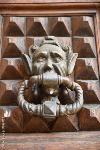 Poignée de porte à masque grotesque en métal Wallpaper Mural