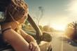 canvas print picture - Frau schaut aus dem Auto raus