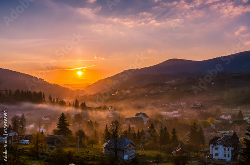 Poster Diepbruine Ukrainian Carpathian Mountains landscape background during the sunset in the autumn season