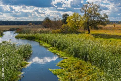 Staande foto Rivier Autumnal landscape with small Ukrainian river Merla located in Poltavsk region