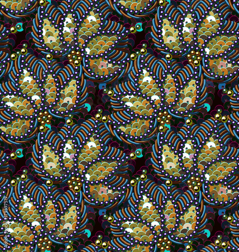 Cotton fabric Sequins Seamless Pattern