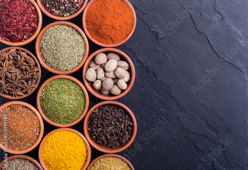 Keuken foto achterwand Assortiment Colection of indian spices