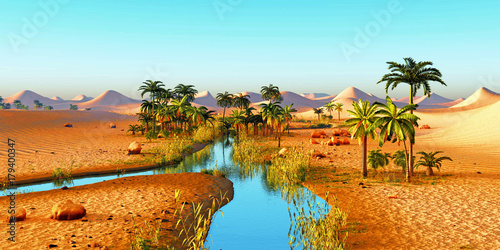 Photo sur Aluminium Turquoise Lush spectacular plants on wilderness in the evening, 3d rendering