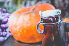 Abstract Closeup Brown Bottle Celebration Blurred Harvest Background Vintage Fall Halloween Thanksgiving