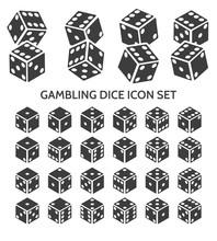 Pip Dice Icons. Vector Gamblin...