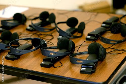 Fotografía  headphones used for simultaneous translation equipment