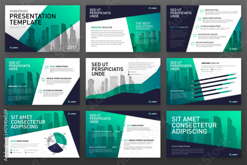 Fototapeta Business presentation templates set. Use for powerpoint background, keynote template, ppt layout, brochure design, website slider, landing page, corporate annual report, brochure cover. obraz