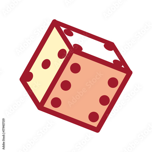 flat line colored   dice  over white background vector illustration плакат