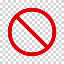 Red Stop Icon On Transparent B...