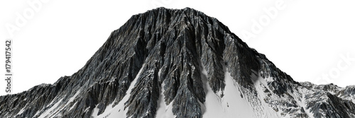 beautiful mountain with snow isolated on white background