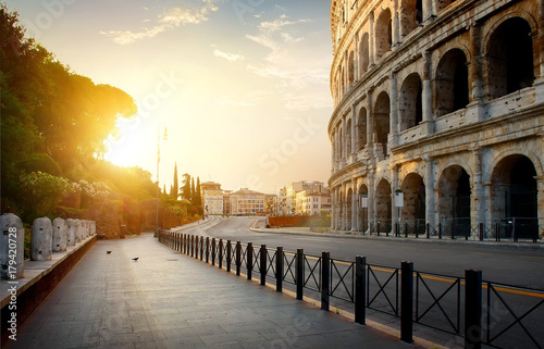 Aluminium Prints Ruins Colosseum in the morning