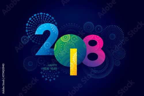 Fotografia, Obraz  Vector illustration of  fireworks. Happy new year 2018 theme