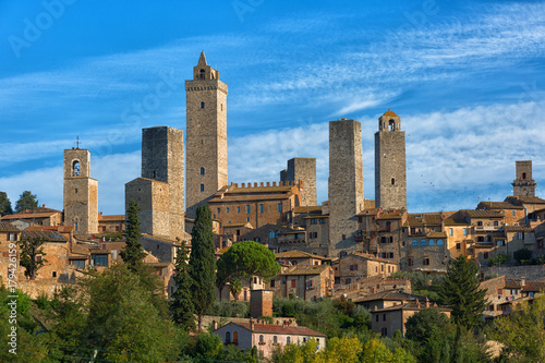Beautiful view of the medieval town of San Gimignano, Tuscany, Italy Wallpaper Mural