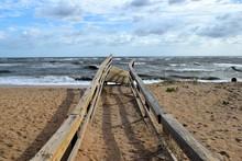 Boardwalk To The Beach Damaged By Hurricane Irma Striking On The East Coast Of Florida, USA