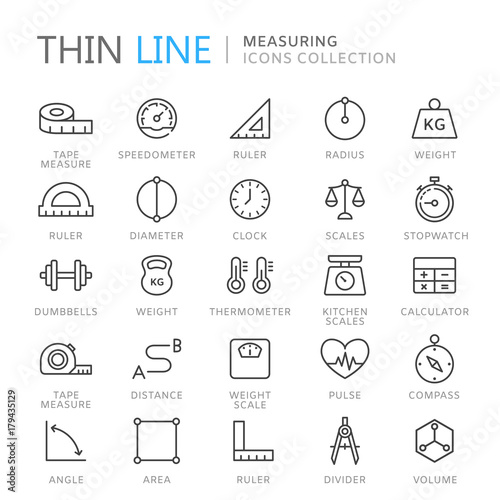 Fotografie, Tablou  Collection of measuring thin line icons