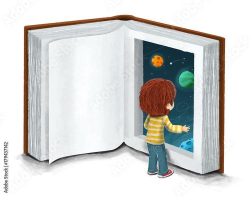 Niño con un libro, concepto de imaginacion