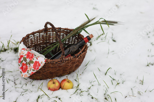 Keuken foto achterwand Picknick Picnic in the forest in late autumn. Basket with wine and apples.