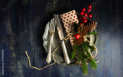 Fotomural Christmas table setting
