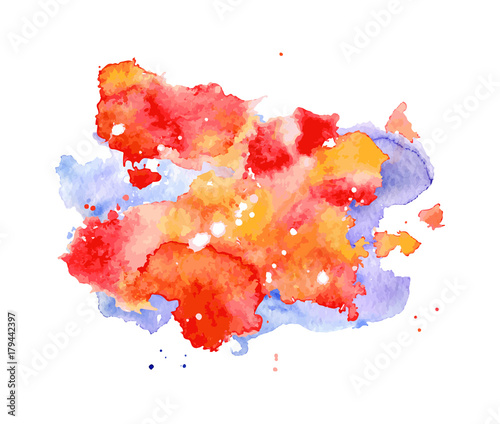 Red and blue Watercolor splash, spot, dot and stripe isolated on white background.  Fototapete