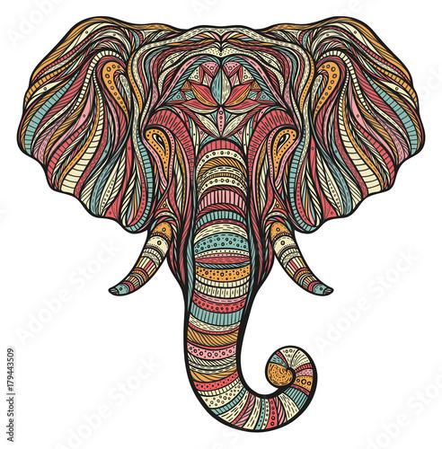 Aluminium Prints Boho Style Stylized ethnic boho elephant portrait isolated on white background. Decorative hand drawn doodle vector illustration. Perfect for postcard, poster, print, greeting card, t-shirt, phone case design