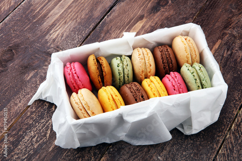 Staande foto Macarons Different types of macaroons or macarons in a box.