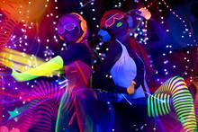 Glow Uv Neon Sexy Disco Female...