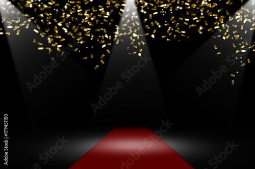 Plakat czerwony dywan, złote konfetti, reflektor, tło uroczysty