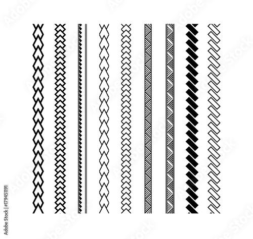 Polynesian Tattoo Style Brush Vector Design Black Border Line Brushstroke