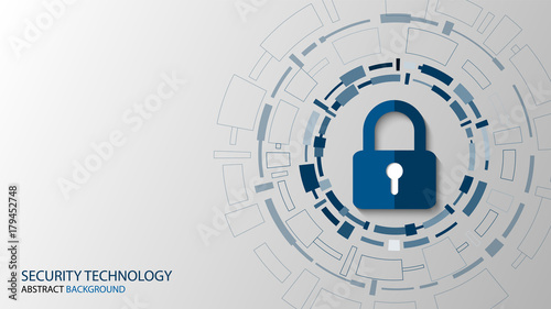 Fotografía  Cyber technology security, network protection background design, vector illustra