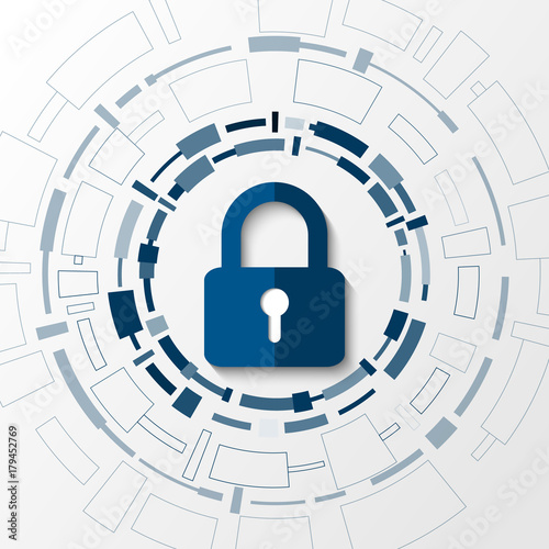 Cyber technology security, network protection background design, vector illustration Wall mural