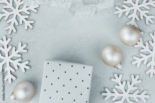 29bc1a5ff0376 Christmas New Year Composition Snow Flakes Baubles Gift Box White Silver  Curled Ribbon on Gray Stone Background. Greeting Card Poster Banner  Template Copy ...