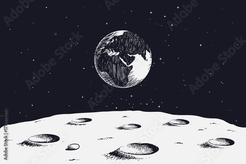 Fotografiet  view from surface of the Moon to Earth