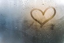Rainy Weather, The Inscription Heart On The Sweaty Glass.