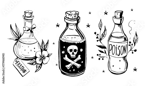 Fotografía  Bottles with potions.
