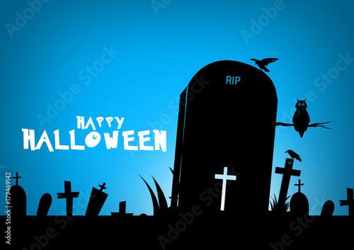 Poster Prune Halloween lettering. Happy halloween illustration.Happy halloween text design on blue background.