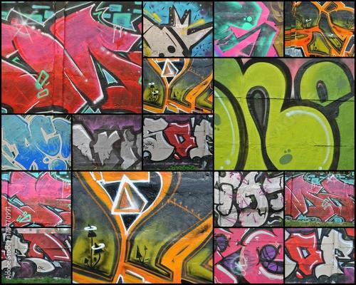 Deurstickers Graffiti collage Kolaż - graffiti