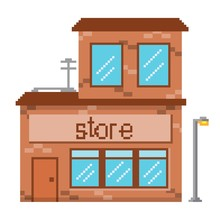 Building Pixel Art Store Game Graphic