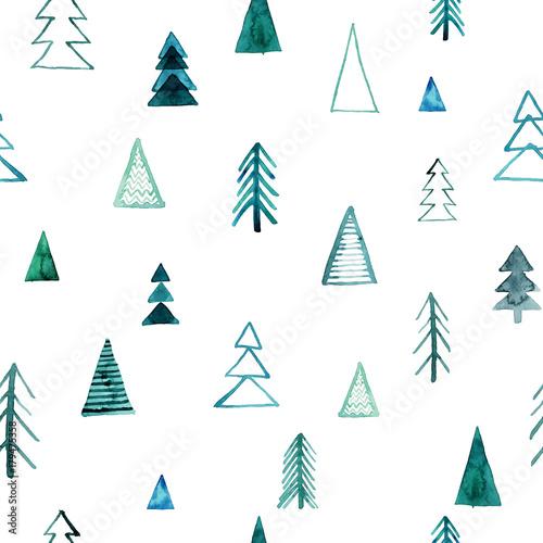 jednolity-wzor-akwarela-lasu-zieleni-drzewa-na-bialym-tle-streszczenie-ilustracji-akwarela-moze-byc-stosowany-do-wypelniania-wzorow