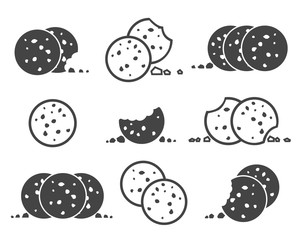 Bitten chip cookies icon set. Biscuit cookie or biscotti vector icons isolated on white background