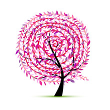 Pink Tree With Leaf Spiral Ornament