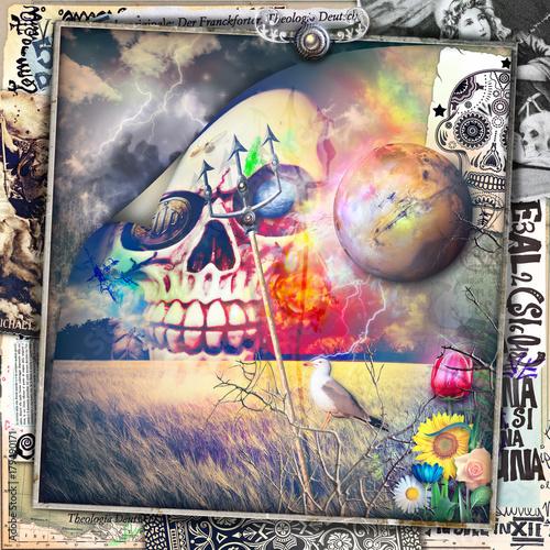 Tuinposter Imagination Scena macabra,dark e bizzarra con teschio in un cielo notturno e tempestoso