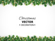 Winter holiday background. Border with Christmas tree branches and ornaments.