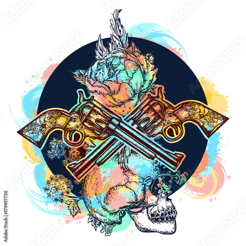 Foto auf AluDibond Aquarell Schädel Skull, crossed guns, rose, color tattoo art. Human skull and revolvers t-shirt design. Symbol of the wild west, robber, crime. water color splashes tattoo