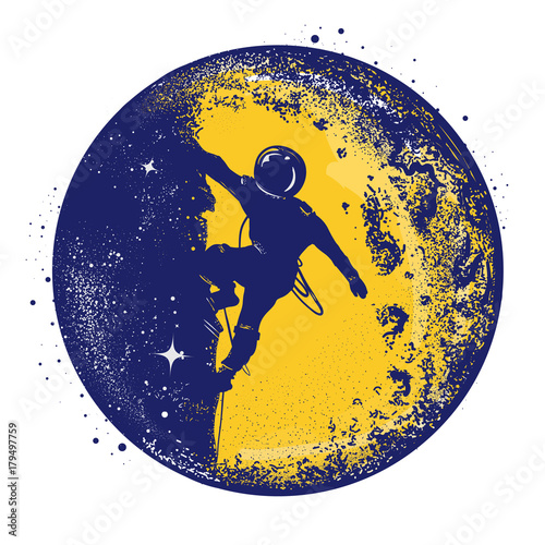 Astronaut color retro tattoo and t-shirt design Plakat
