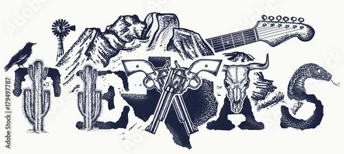 Fotografía Texas tattoo and t-shirt design