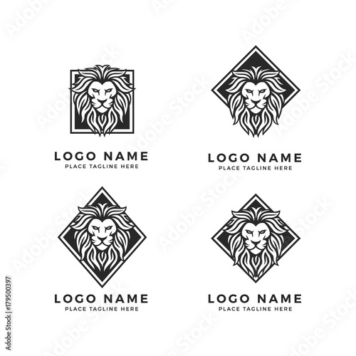 set of king lion head logo template strong glare lion face black