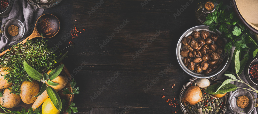 Fototapety, obrazy: Chestnuts cooking ingredients on dark rustic background, top view, place for text. Seasonal food and eating. Banner